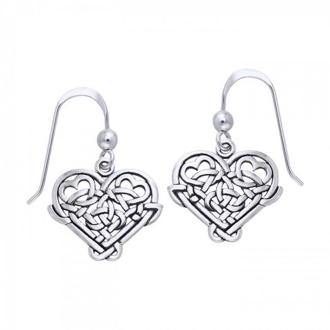 Cari Buziak Celtic Knotwork Silver Heart Earrings TER245