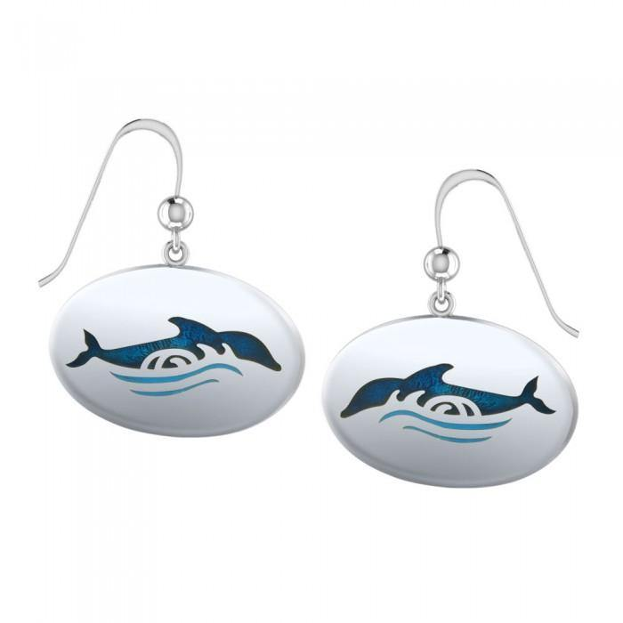 Dolphin and Waves Silver Earrings TER497 peterstone.