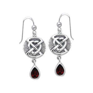 Buried Heart with Teardrop Gem Silver Earrings TER542