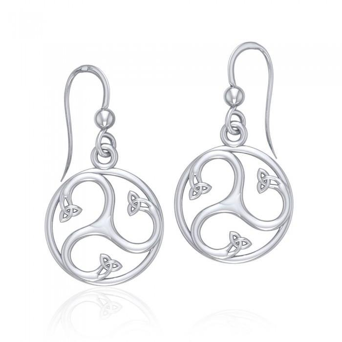 Find your spirituality within Silver Triquetra Dangle Earrings TER568
