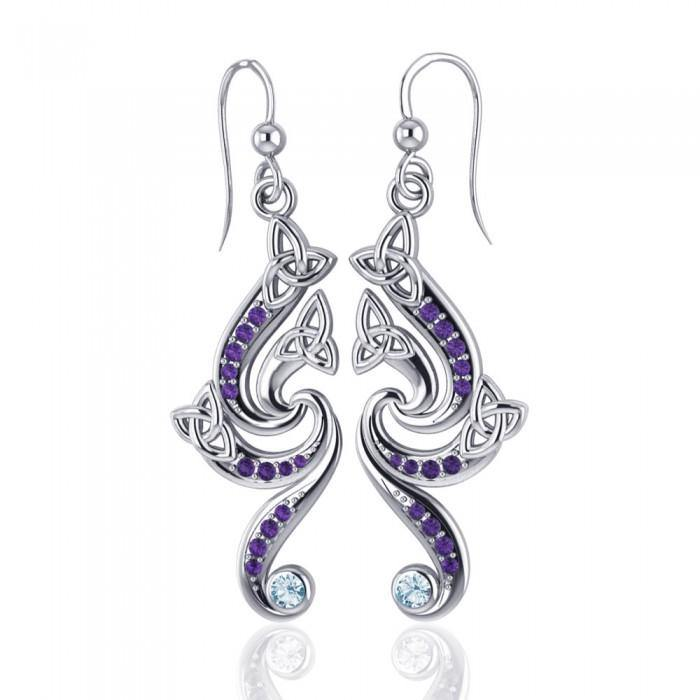 A dazzling eternity Silver Celtic Triquetra Dangle Earrings with Gemstone TER569 peterstone.