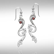 Eternity and Celtic pride Silver Triquetra Dangle Earrings with Gemstones TER570