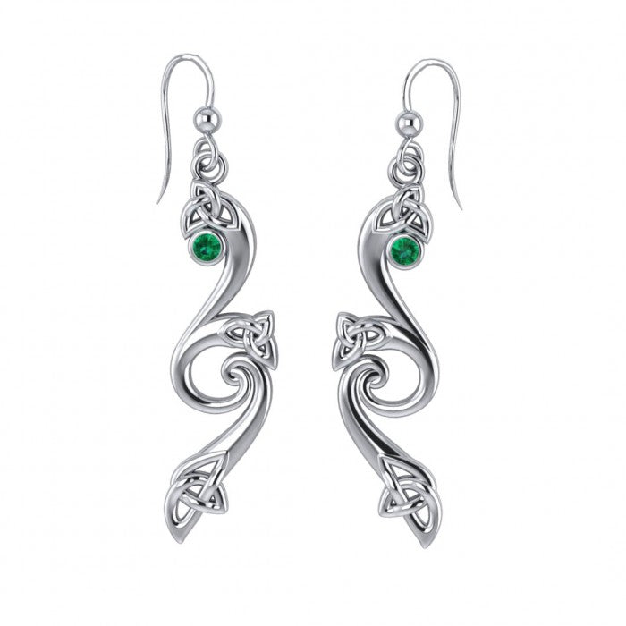Eternity and Celtic pride Silver Triquetra Dangle Earrings with Gemstones TER570 peterstone.
