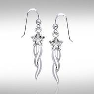 Designer Shooting Star Cubic Zirconia Earrings TER856