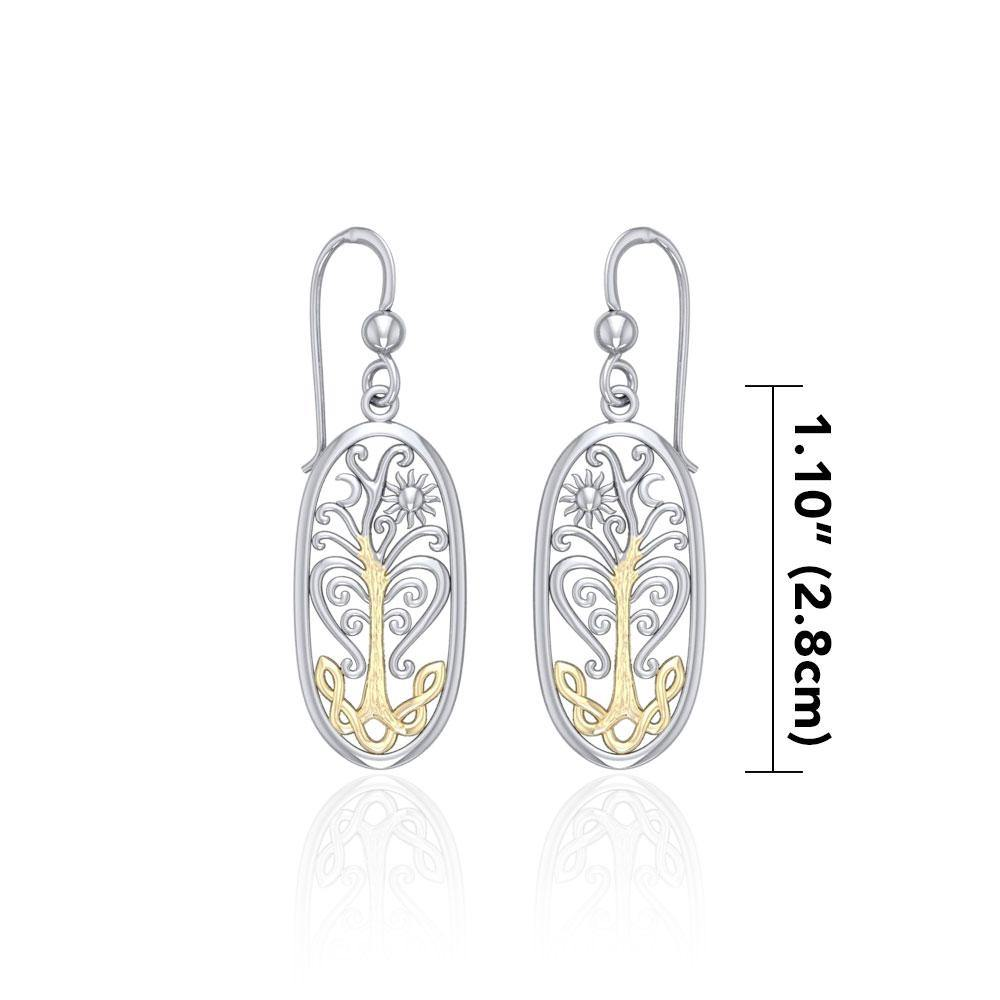 Worthy of the Golden Tree of Life ~ 14k Gold accent and Sterling Silver Jewelry Earrings