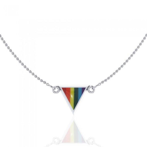 Rainbow Triangle Silver Necklace TN073