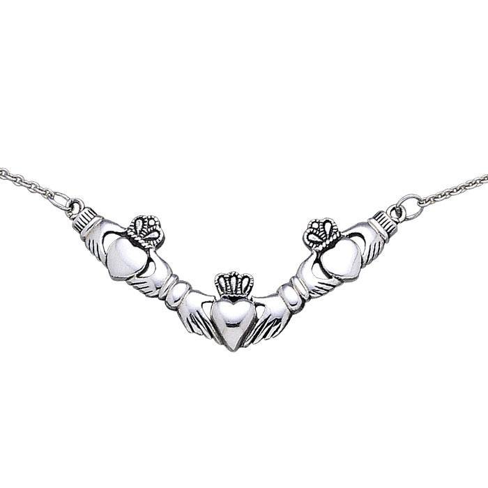 Irish Claddagh Silver Necklace TN094