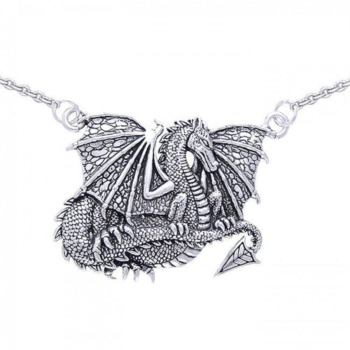 Winged Dragon Silver Necklace TN277 peterstone.