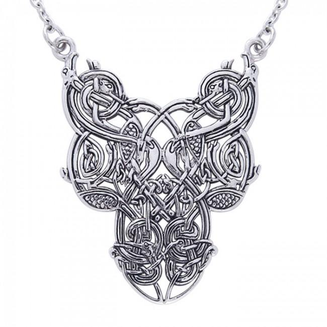 Celtic Knotwork Bird Silver Necklace TN294