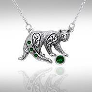 Celtic Cat Gemstone Necklace