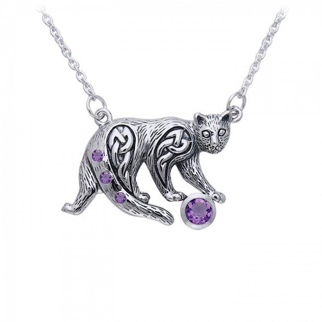 Celtic Cat Gemstone Necklace TNC042