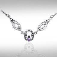 Celtic Knotwork Silver Claddagh Necklace