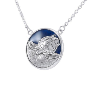 Sterling Silver Turtle with Navy blue Enamel Necklace by Ted Andrews TNC117