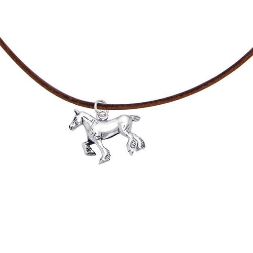 Silver Draft Horse with Cord Necklace TNC175 peterstone.