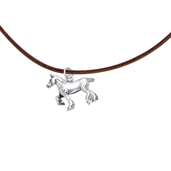 Silver Draft Horse with Cord Necklace TNC175