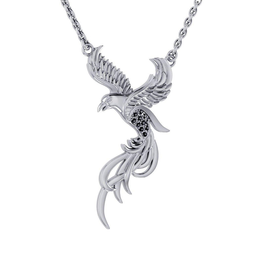 Alighting breakthrough of the Mythical Phoenix ~ Sterling Silver Jewelry Pendant with Crystal Accents TNC232