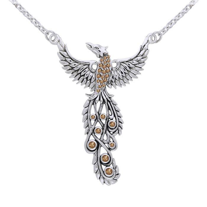 Honor Thy Flying Phoenix ~ Sterling Silver Jewelry Necklace with Gemstone