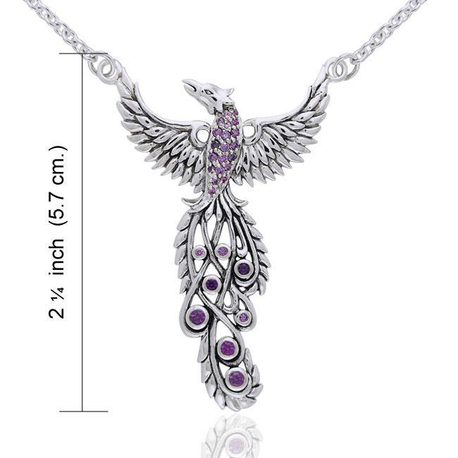 Honor Thy Flying Phoenix ~ Sterling Silver Jewelry Necklace with Gemstone TNC236 peterstone.