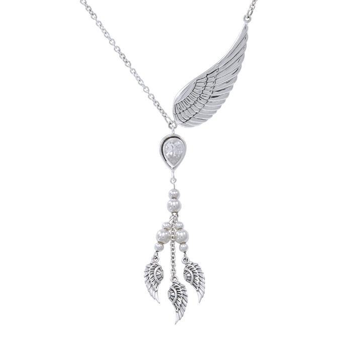 Gentle touch by the Wings of an Angel ~Sterling Silver Jewelry Necklace with Gemstone TNC422P