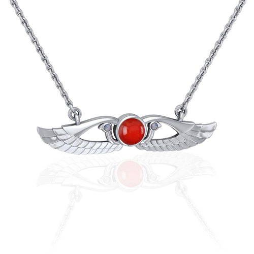 Modern Winged Carnelian Solar Disc Necklace with Extender TNC450 peterstone.