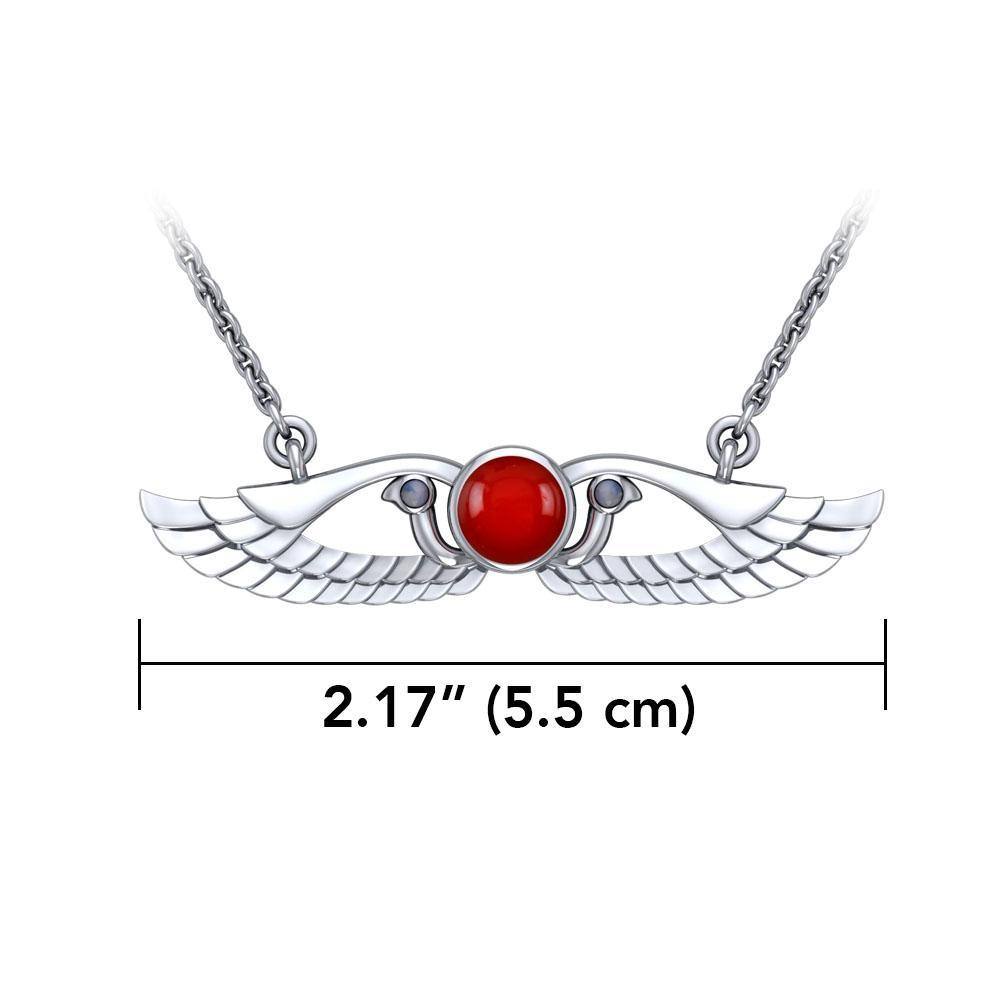 Modern Winged Carnelian Solar Disc Necklace with Extender