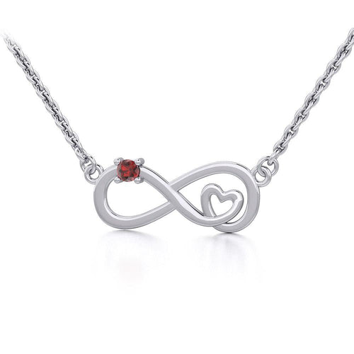 Infinity Heart Silver Necklace with Gemstone TNC485