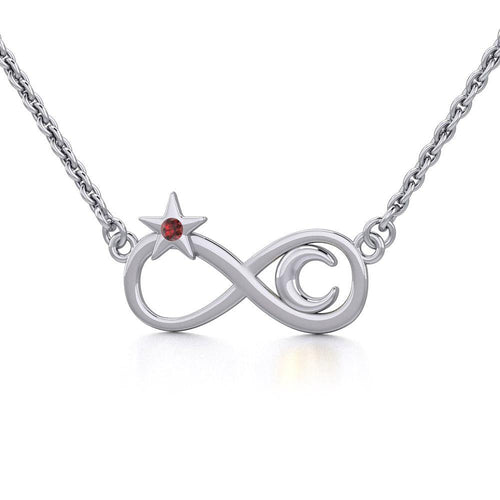 Infinity Moon and Star Silver Necklace with Gemstone TNC486