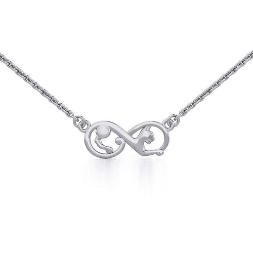 Infinity Cat Silver Necklace TNC489 peterstone.