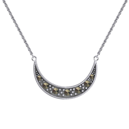 Crescent Moon Sterling Silver Necklace with Marcasite TNC530 peterstone.