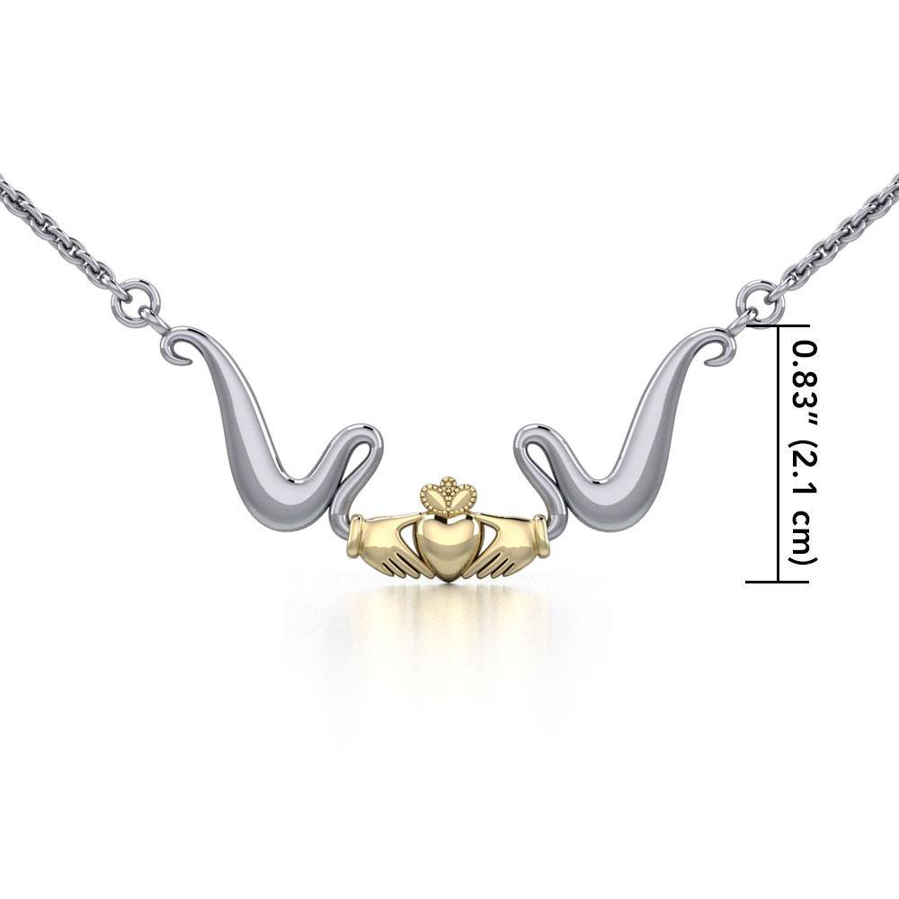 Modern Celtic Claddagh Necklace TNV057