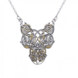 Celtic Knot Bird Gold Accent Silver Necklace TNV294 peterstone.