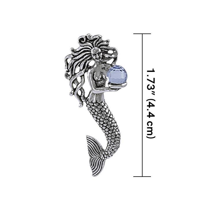 Charmed by the Mythical Mermaid ~ Sterling Silver Treasure Pendant with Swarovski Crystal TP1025 peterstone.