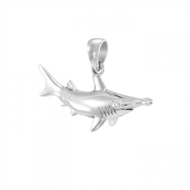Hammerhead Shark in Coral .925 Sterling Silver Pendant Peter Stone Jewelry