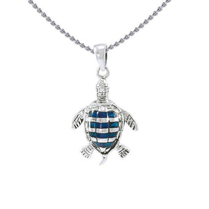 Sea turtleเน'โ'ฌย™s story ~ Sterling Silver Jewelry Pendant with Inlaid Paua Shell TP1079