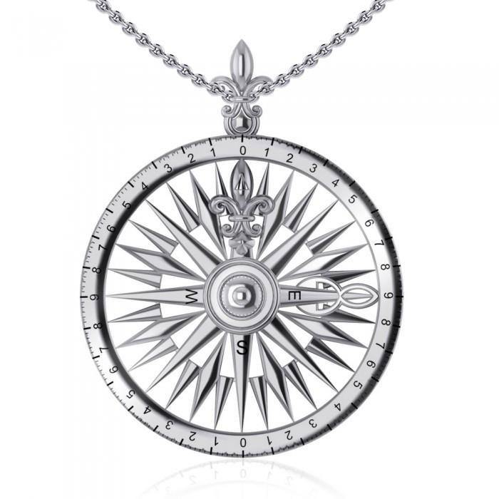 Celtic tradition in Fleur de Lis Sterling Silver Rose Compass Pendant TP1118 peterstone.