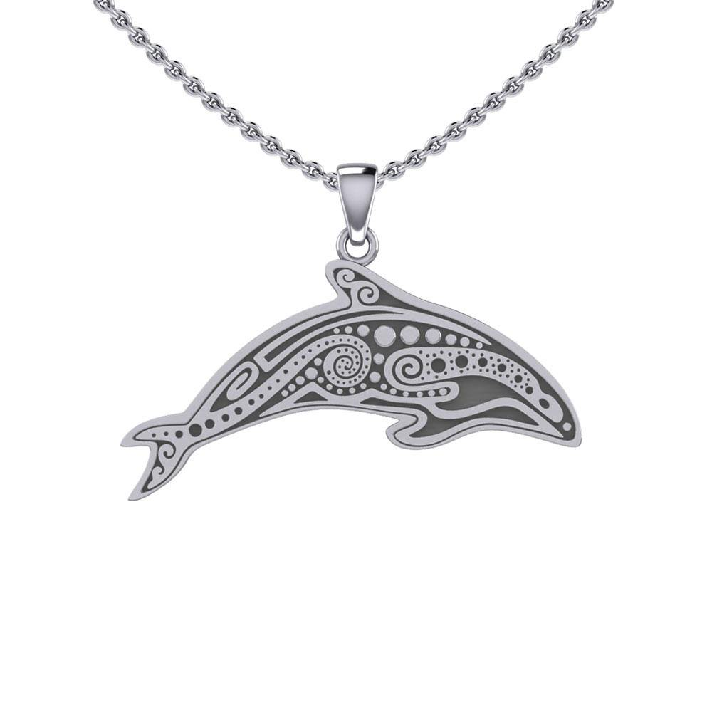 In the Dolphin's world of kind and calm ~ Sterling Silver Pendant TP1374