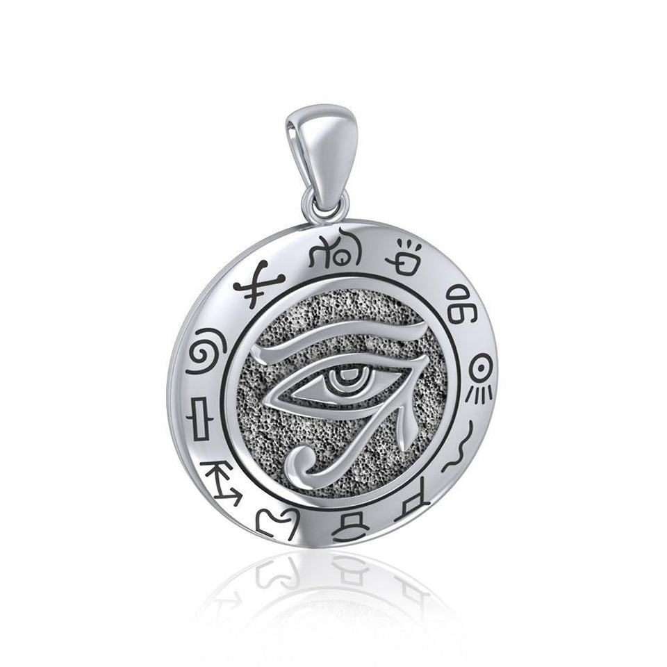 Eye of Horus with Zodiac, a symbol of healing and protection ~  Sterling Silver Pendant TP1584 peterstone.