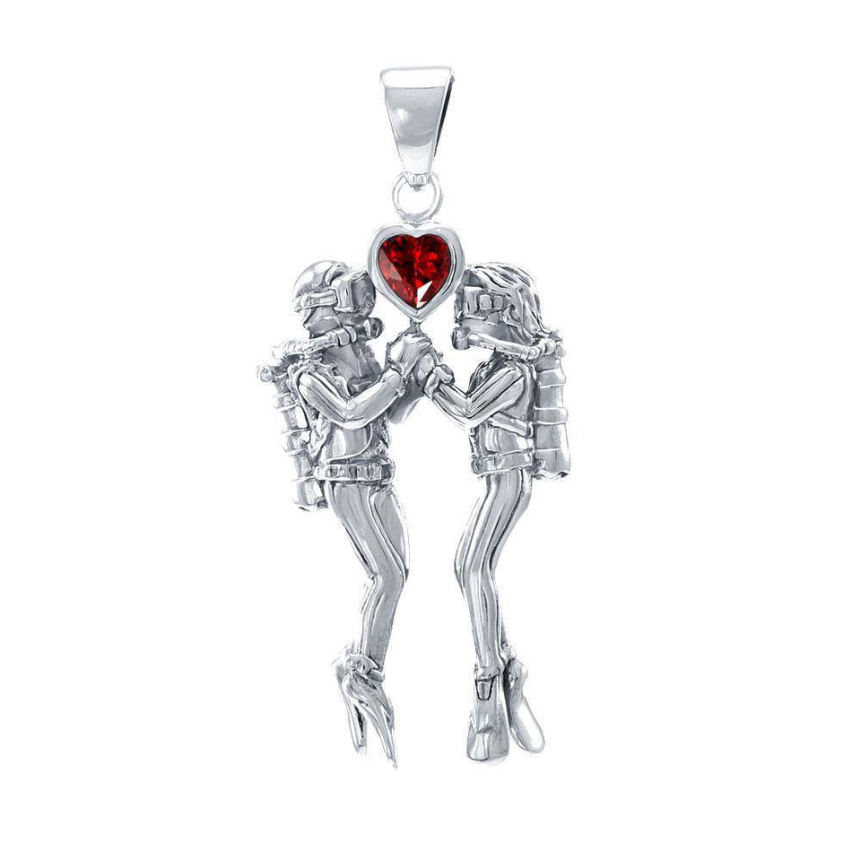 Gazing Dive Lovers Silver Pendant TP2685 peterstone.