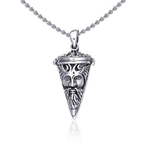 Art Nouveau Green Man Necklace in Sterling Silver