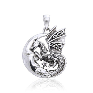 Slumbering Dragon on Moon Silver Pendant TP3101 peterstone.