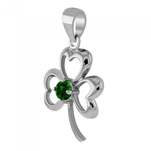 Finest beauty ~ Sterling Silver Jewelry Shamrock Pendant with Center Gemstone TP3105 peterstone.