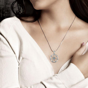 Elven Star with Gems Silver Pendant TP3134