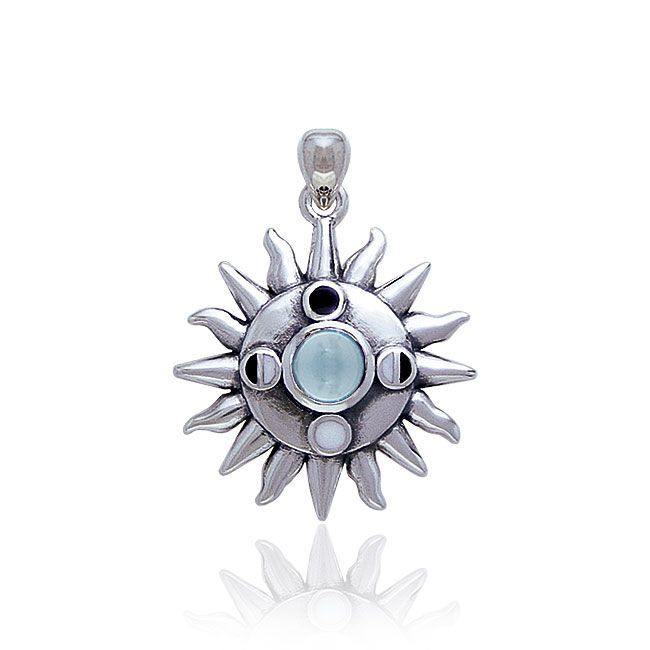 Sun With Gem Center And Moon Phases Pendant TP3145