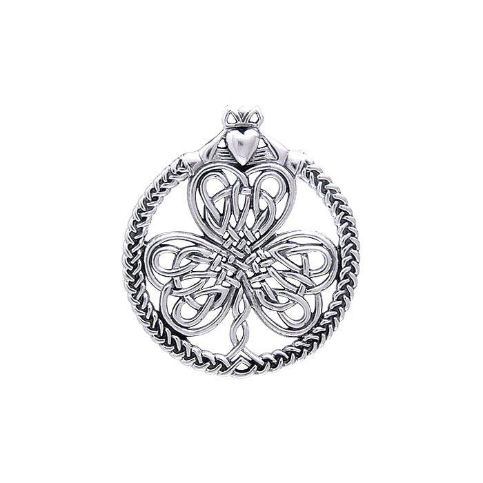 Celtic Knotwork Shamrock & Irish Claddagh Silver Pendant TP3417
