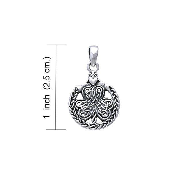 Celtic Knotwork Shamrock & Irish Claddagh Silver Pendant TP3418