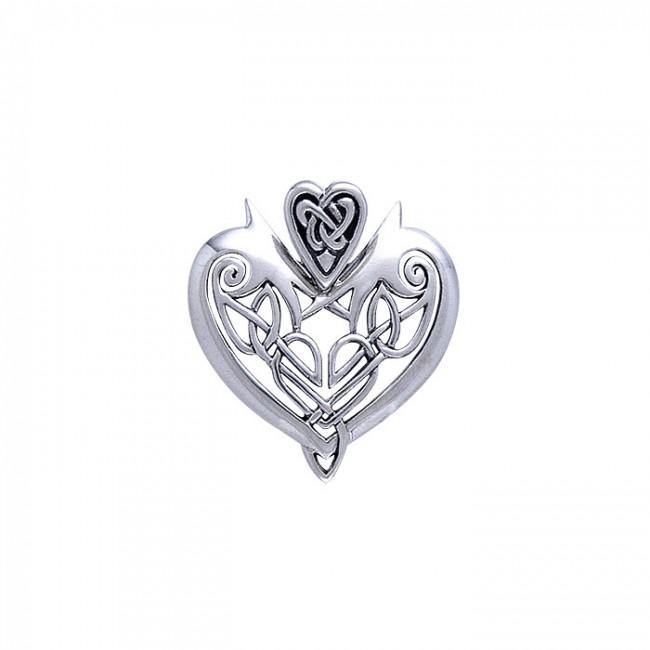 Joyous Heart Celtic Knotwork Silver Pendant TP3444 peterstone.