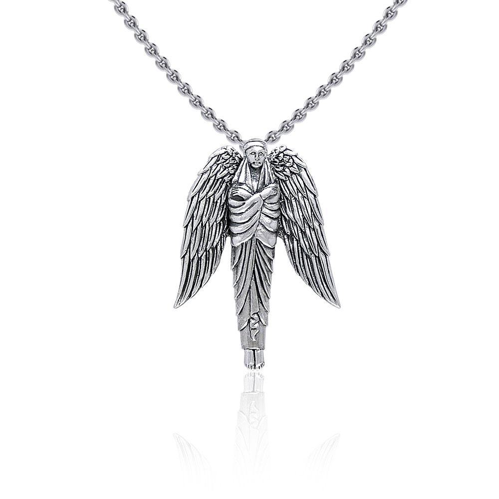 Angel of Protection Silver Pendant TP3470 peterstone.