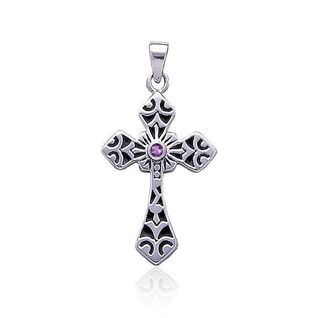 Celtic Cross Silver Pendant with Gemstone TP638
