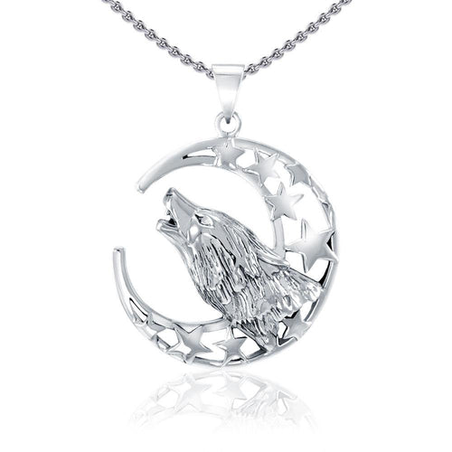 Baying wolf around the celestial beauty ~ Sterling Silver Jewelry Pendant TP831 peterstone.