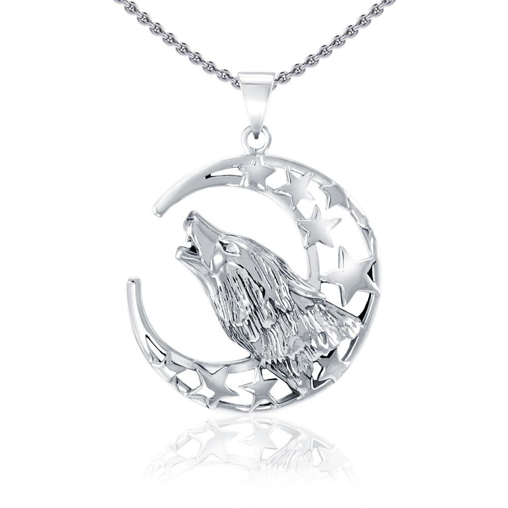 Baying wolf around the celestial beauty ~ Sterling Silver Jewelry Pendant TP831